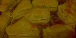 The finished hand-held chicken potpie pocket