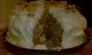 Interior shot of Sweet Potato Cake with Coconut Pecan Cream Cheese Frosting