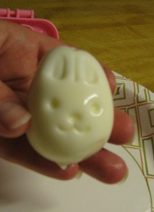 An egg molded into the shape of a bunny
