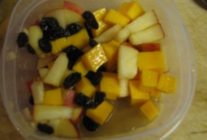 Add cubed cheese and raisins to the Apple and Raisin Pasta Salad