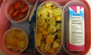 Apple and Raisin Pasta Salad packed in a bento lunch